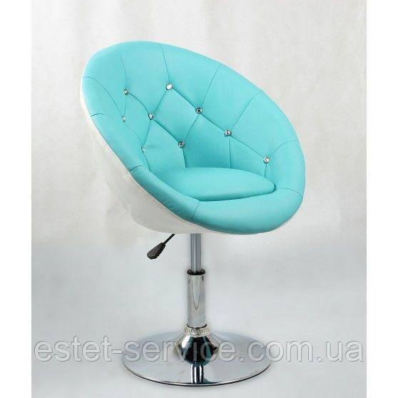 Парикмахерское кресло HC-8516 бирюзово-белое