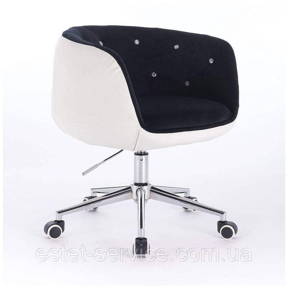 Парикмахерское кресло HC333K черно-белое велюр