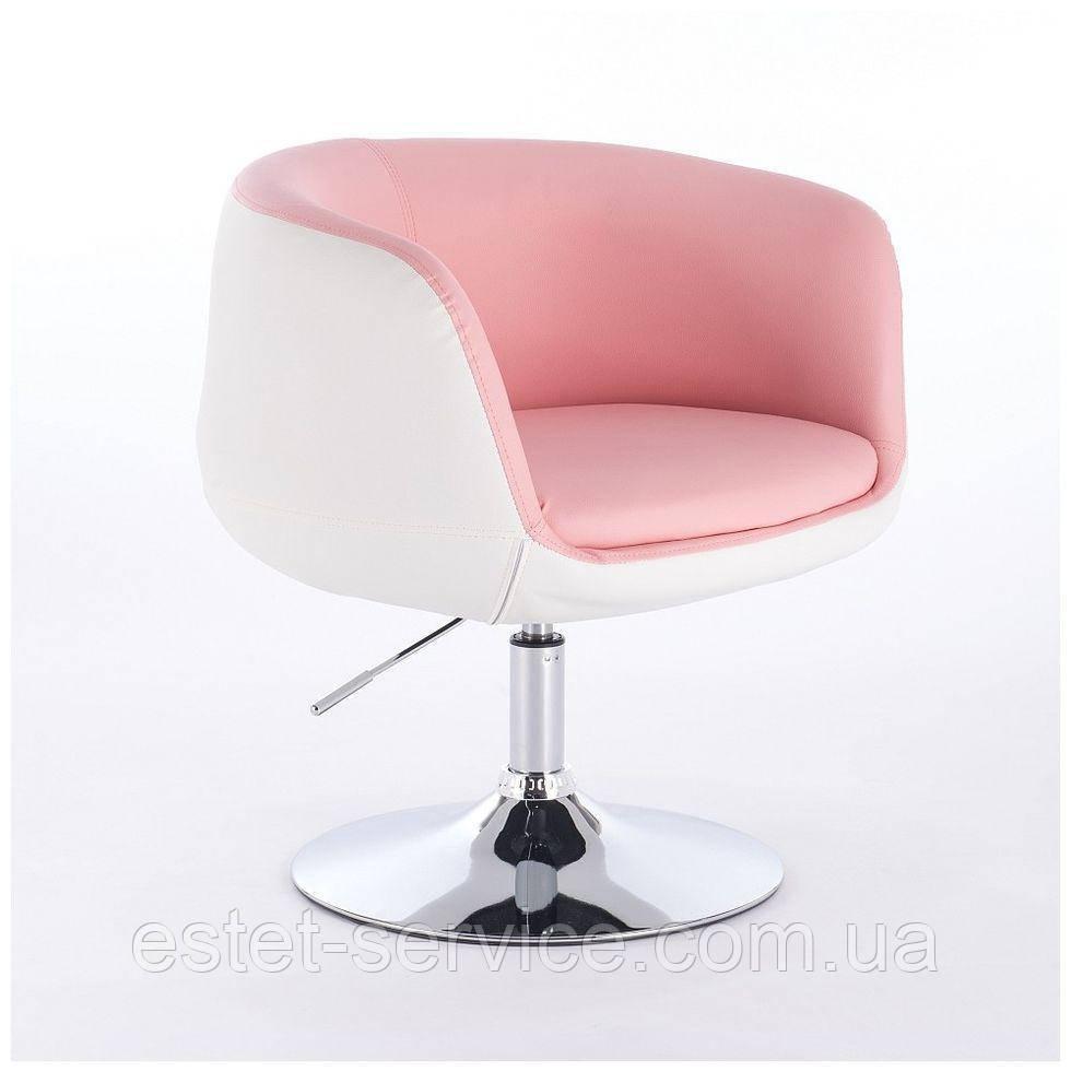 Парикмахерское кресло HC333N розово-белое