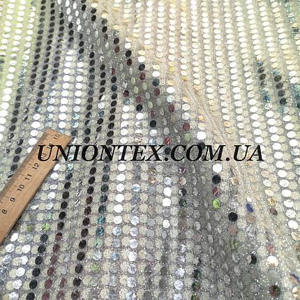 Ткань копейка серебро на белом, фото 2