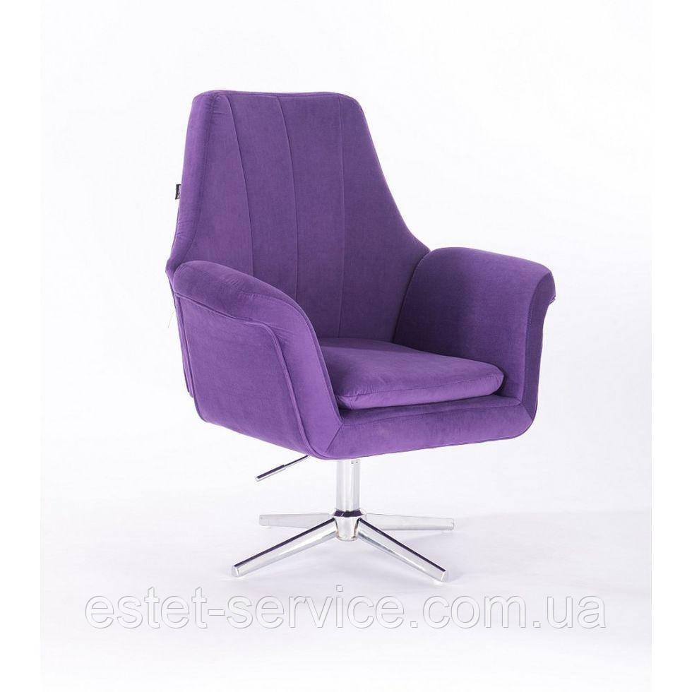 Парикмахерское  кресло HROVE FORM HR660CROSS  фиолетовый велюр