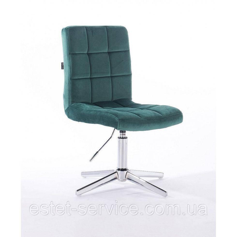 Парикмахерское  кресло HROVE FORM HR7009CROSS зеленый бутылочный велюр