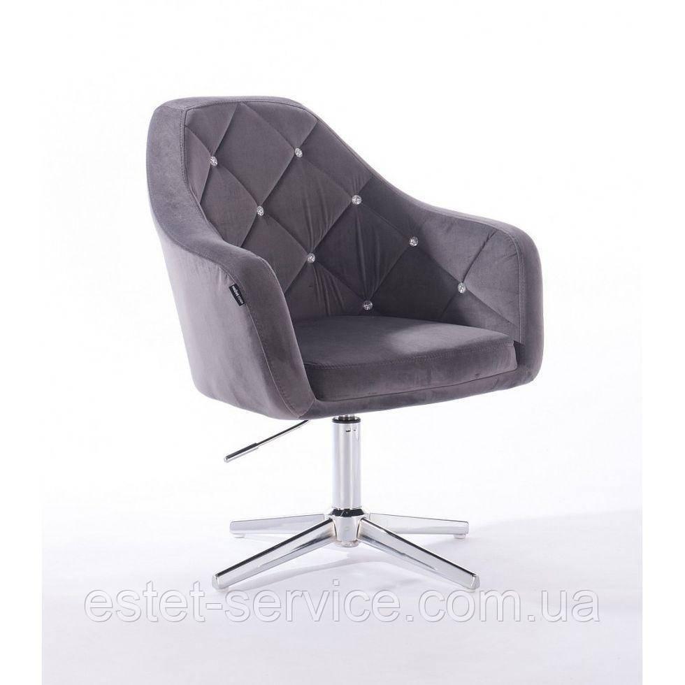 Парикмахерское  кресло HROVE FORM HR830CROSS графитовый велюр