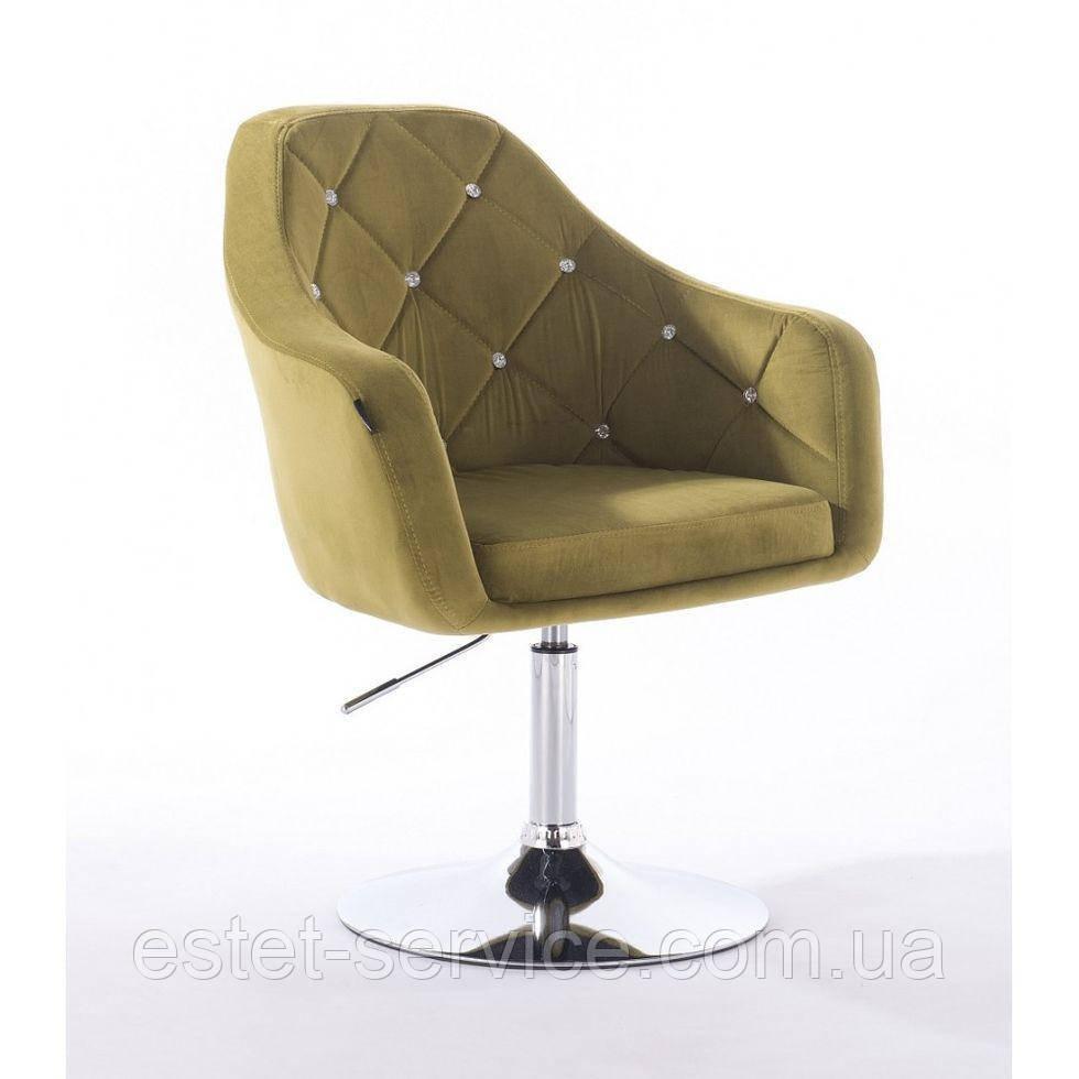 Парикмахерское кресло HROVE FORM HR830 оливковый велюр