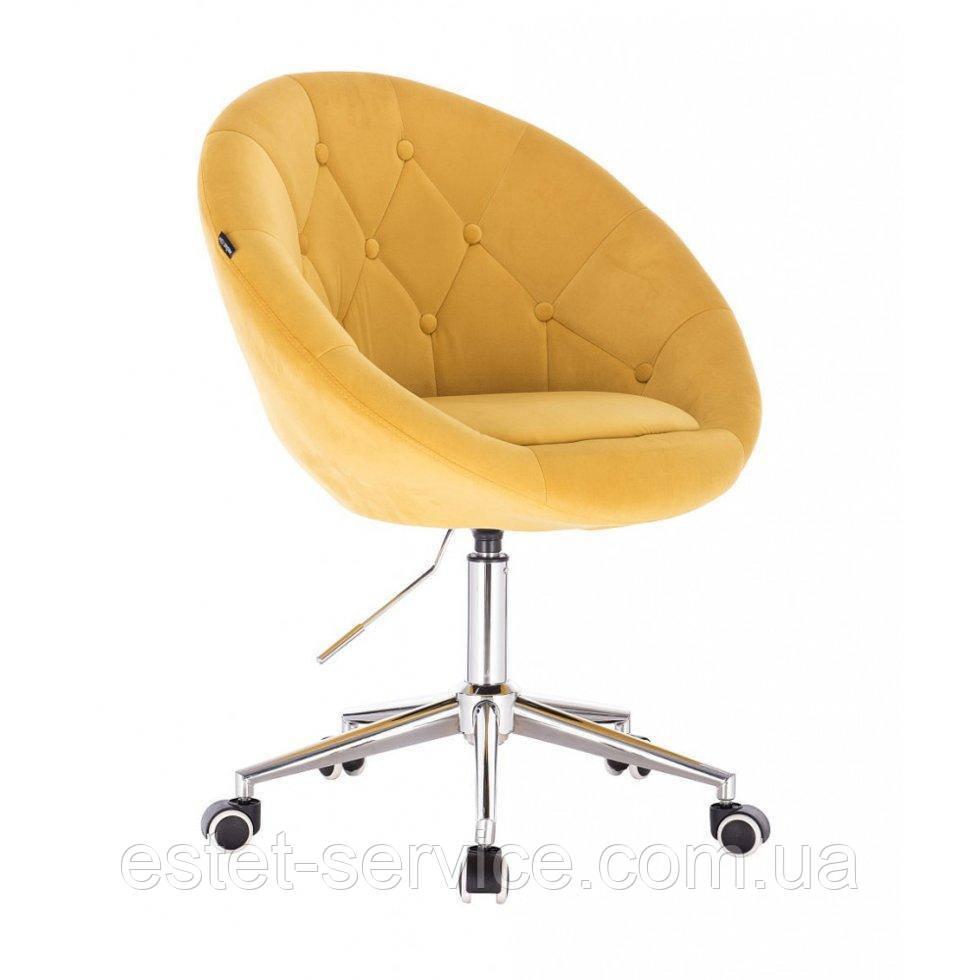 Косметическое кресло HR8516K  золотой велюр колеса хром