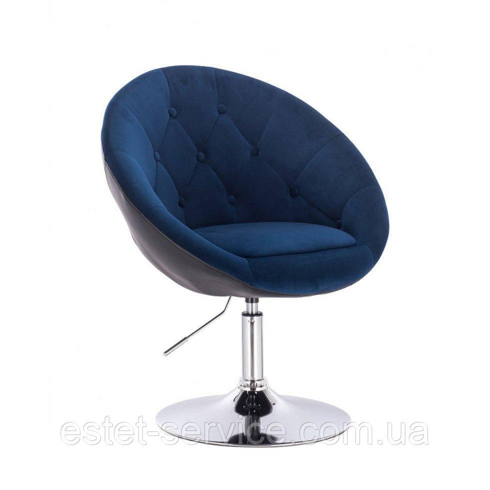 Парикмахерское  кресло HR8516 сине-черный велюр