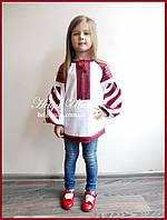 Дитяча вишита туніка, блузка, вишиванка з бавовняним мереживом на замовлення (98-152)