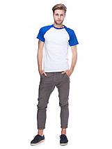 Футболка чоловіча реглан, біло синій, фото 3