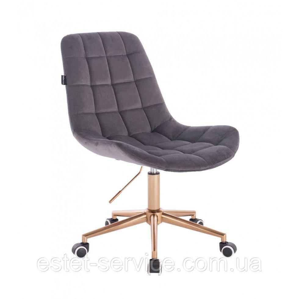 Косметическое кресло HR590K  графитовый велюр колеса золото