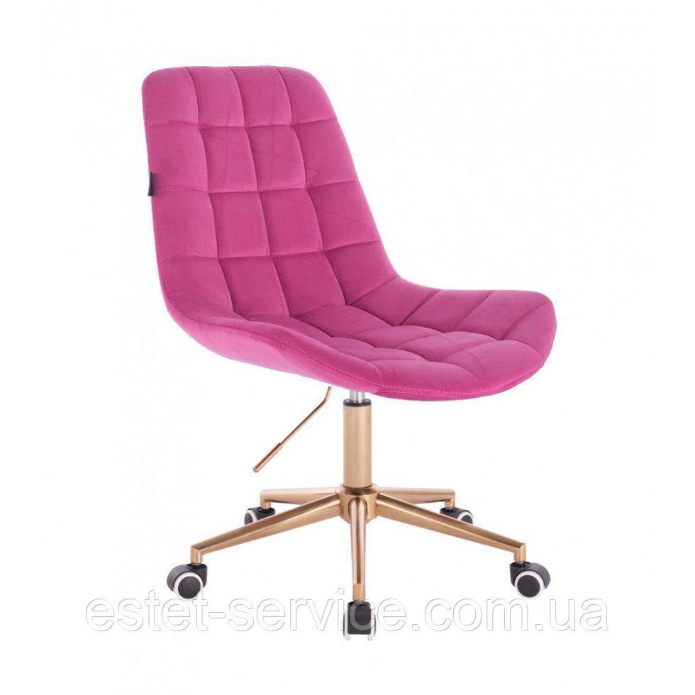Косметическое кресло HR590K  малиновый велюр колеса золото