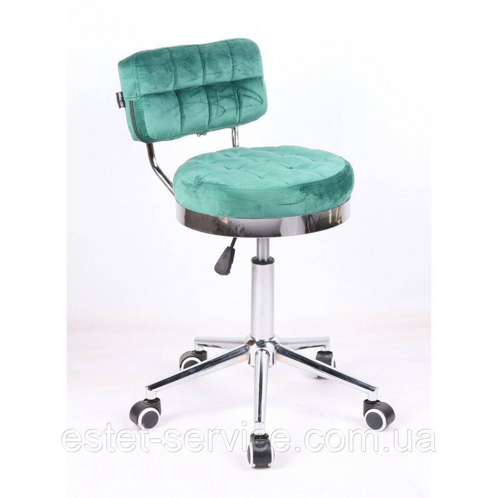 Кресло косметическое HR636 на хромированных колесах в ЦВЕТАХ велюр