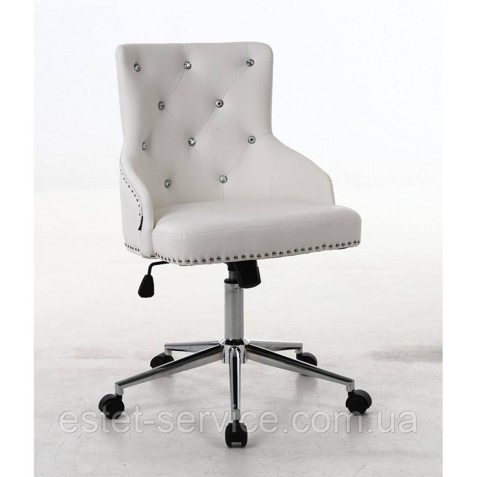 Косметическое кресло HROOVE FORM HR654K белый кожзам со стразами