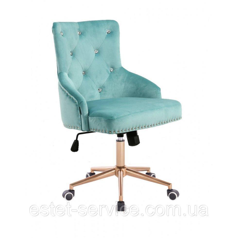 Косметическое кресло HROOVE FORM HR654K бирюзовый велюр со стразами колеса золото
