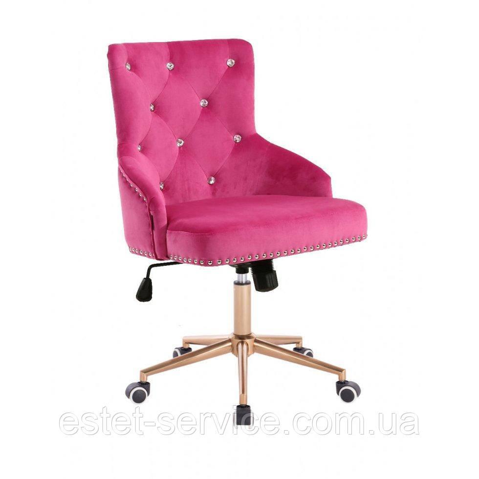 Косметическое кресло HROOVE FORM HR654K малиновый велюр со стразами колеса золото