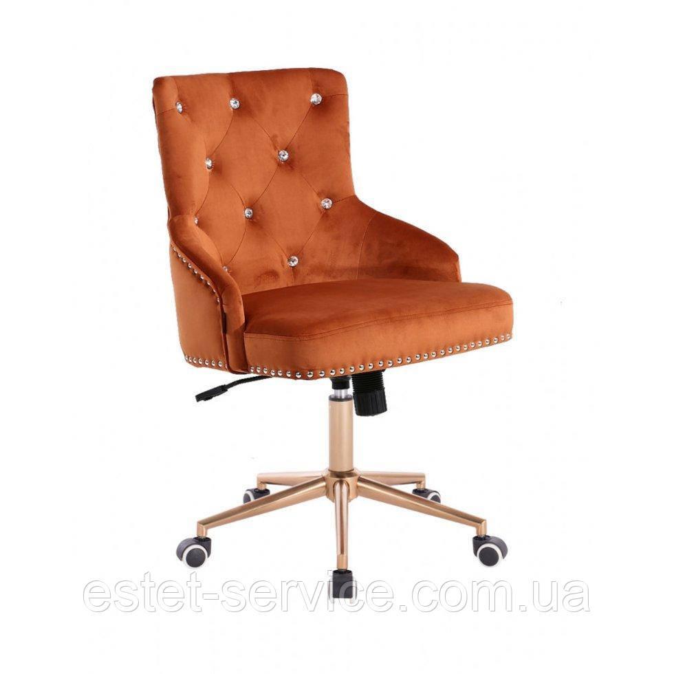 Косметическое кресло HROOVE FORM HR654K медный велюр со стразами колеса золото