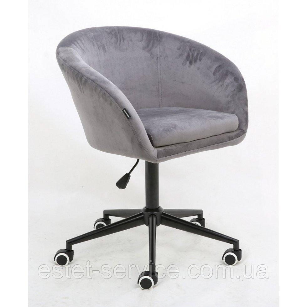 Косметическое кресло HROOVE FORM HR8326K стальной велюр черная крестовина