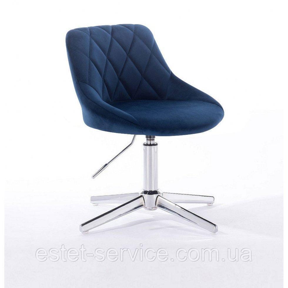 Парикмахерское  кресло HROVE FORM HR1054 CROSS синий велюр