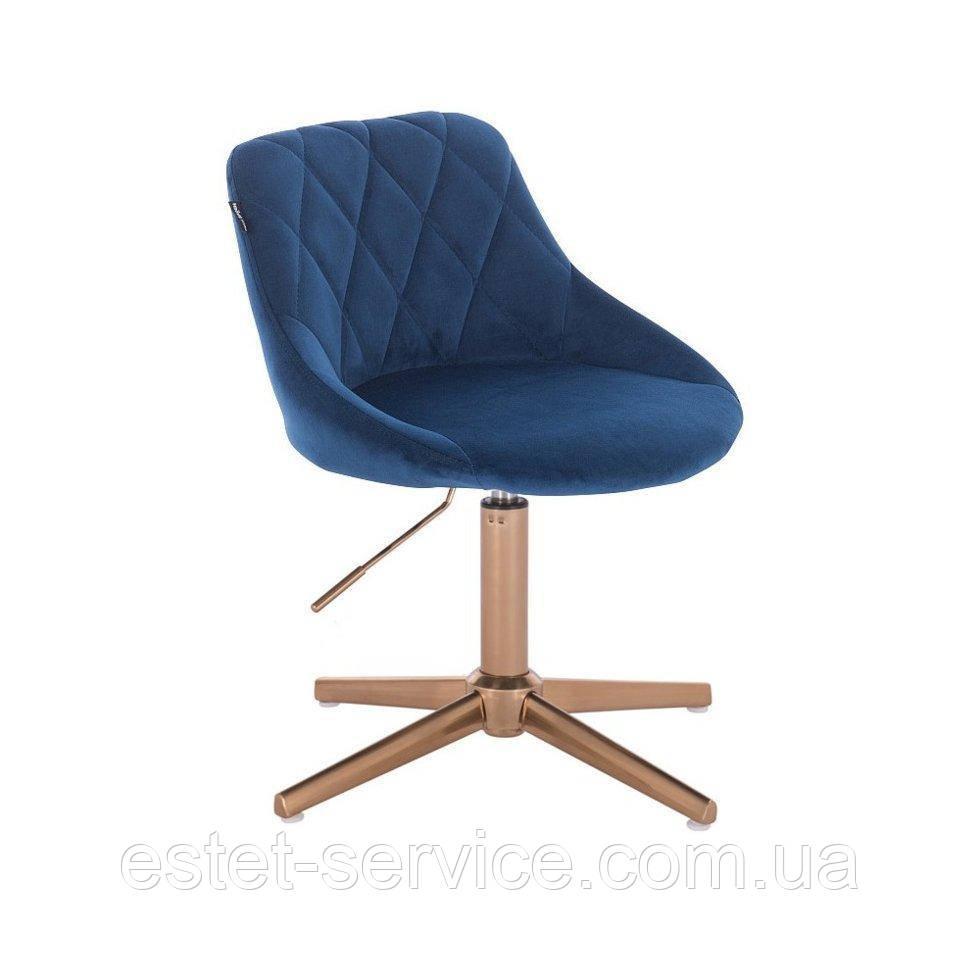 Парикмахерское  кресло HROVE FORM HR1054K CROSS синий велюр крестовина золото