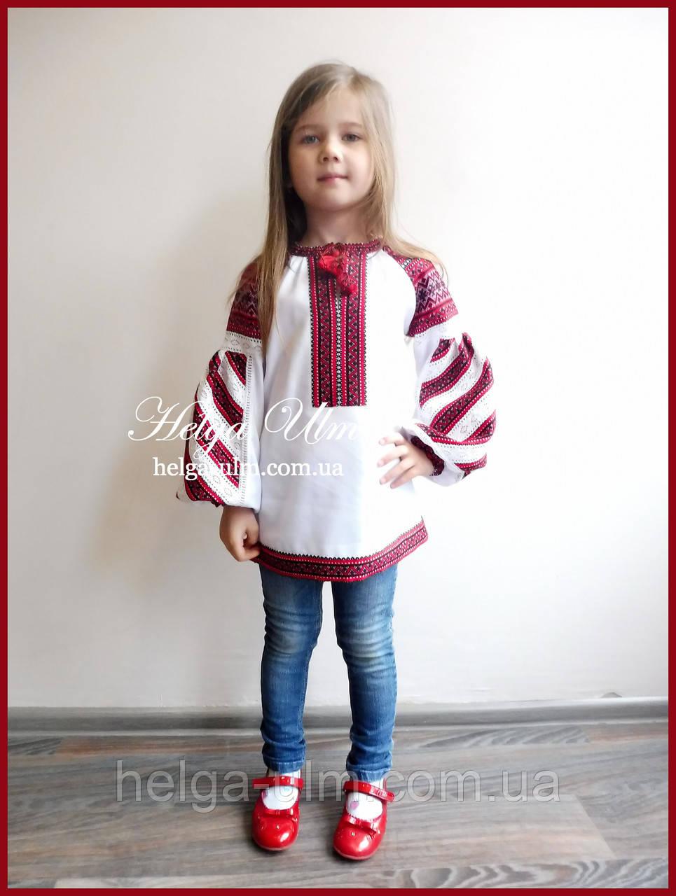 Дитяча вишита туніка, блуза з бавовняним мереживом на замовлення - 128 р.