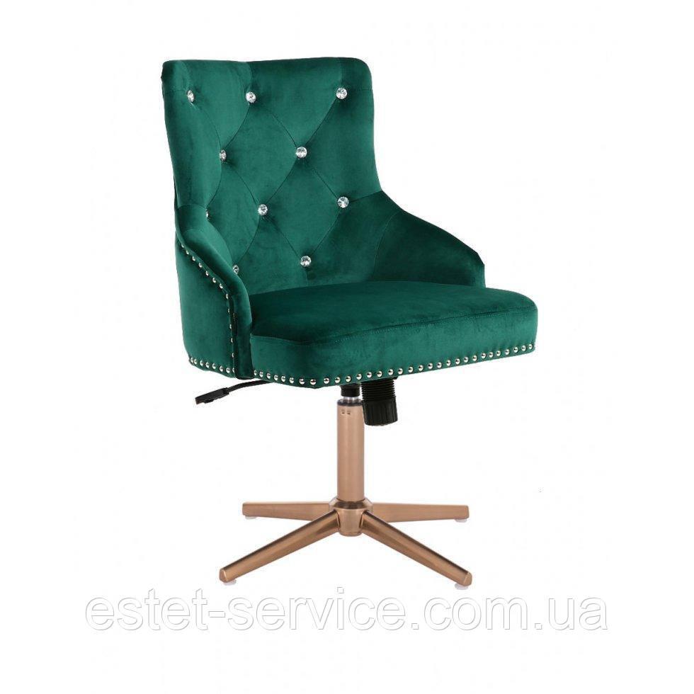 Кресло для мастера HROVE FORM HR654CROSS на золотой крестовине велюр в ЦВЕТАХ со стразами