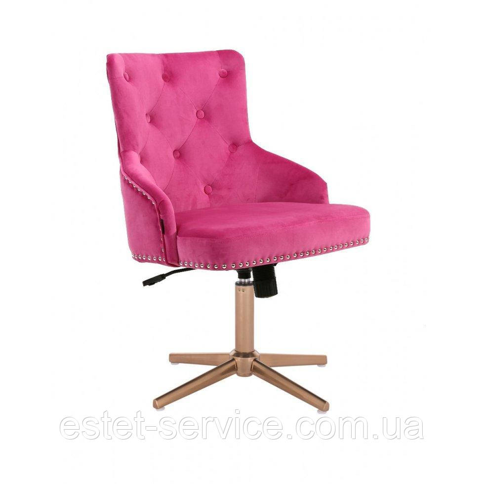 Парикмахерское  кресло HROVE FORM HR654CROSS малиновый велюр с пуговицами крестовина золото
