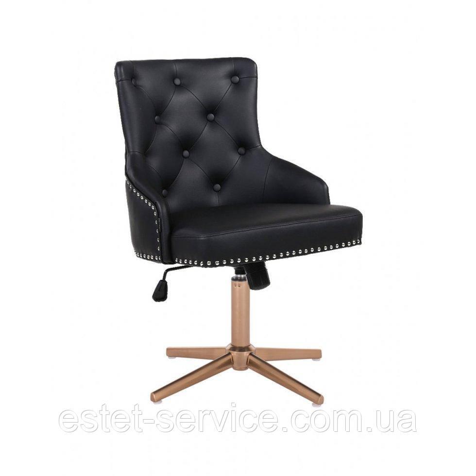 Парикмахерское  кресло HROVE FORM HR654CROSS черный кожзам с пуговицами крестовина золото