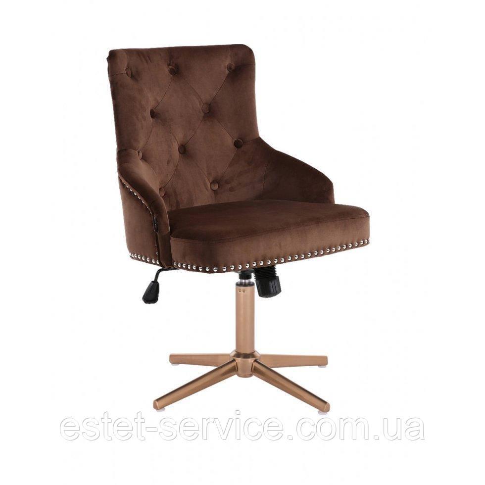 Парикмахерское  кресло HROVE FORM HR654CROSS шоколадный велюр с пуговицами крестовина золото