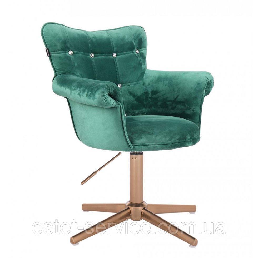 Кресло парикмахера HROVE FORM HR804C CROSS на золотых стопках в ЦВЕТАХ велюр