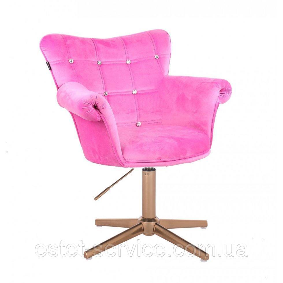 Парикмахерское  кресло HROVE FORM HR804C CROSS розовый велюр крестовина золото