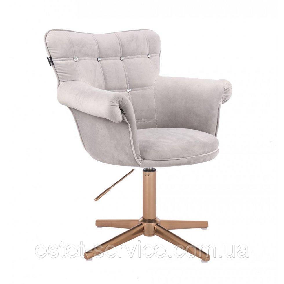 Парикмахерское  кресло HROVE FORM HR804C CROSS стальной велюр крестовина золото