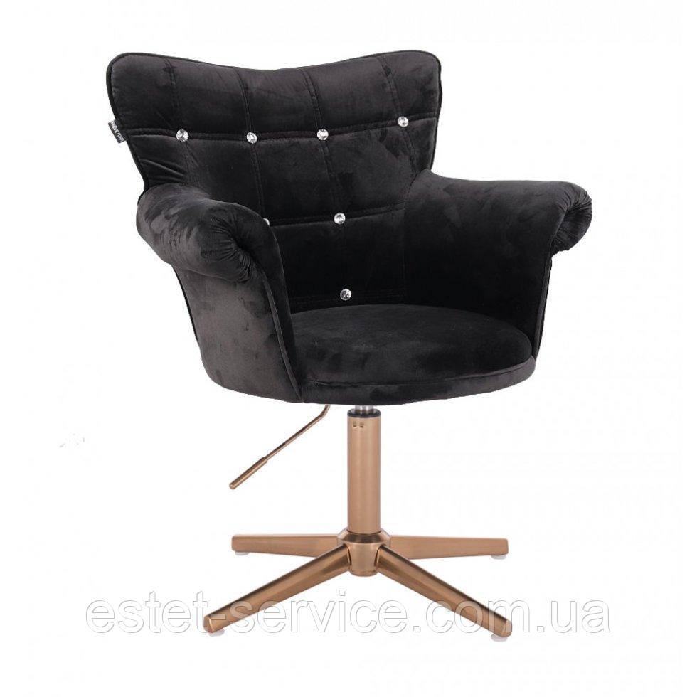 Парикмахерское  кресло HROVE FORM HR804C CROSS черный велюр крестовина золото
