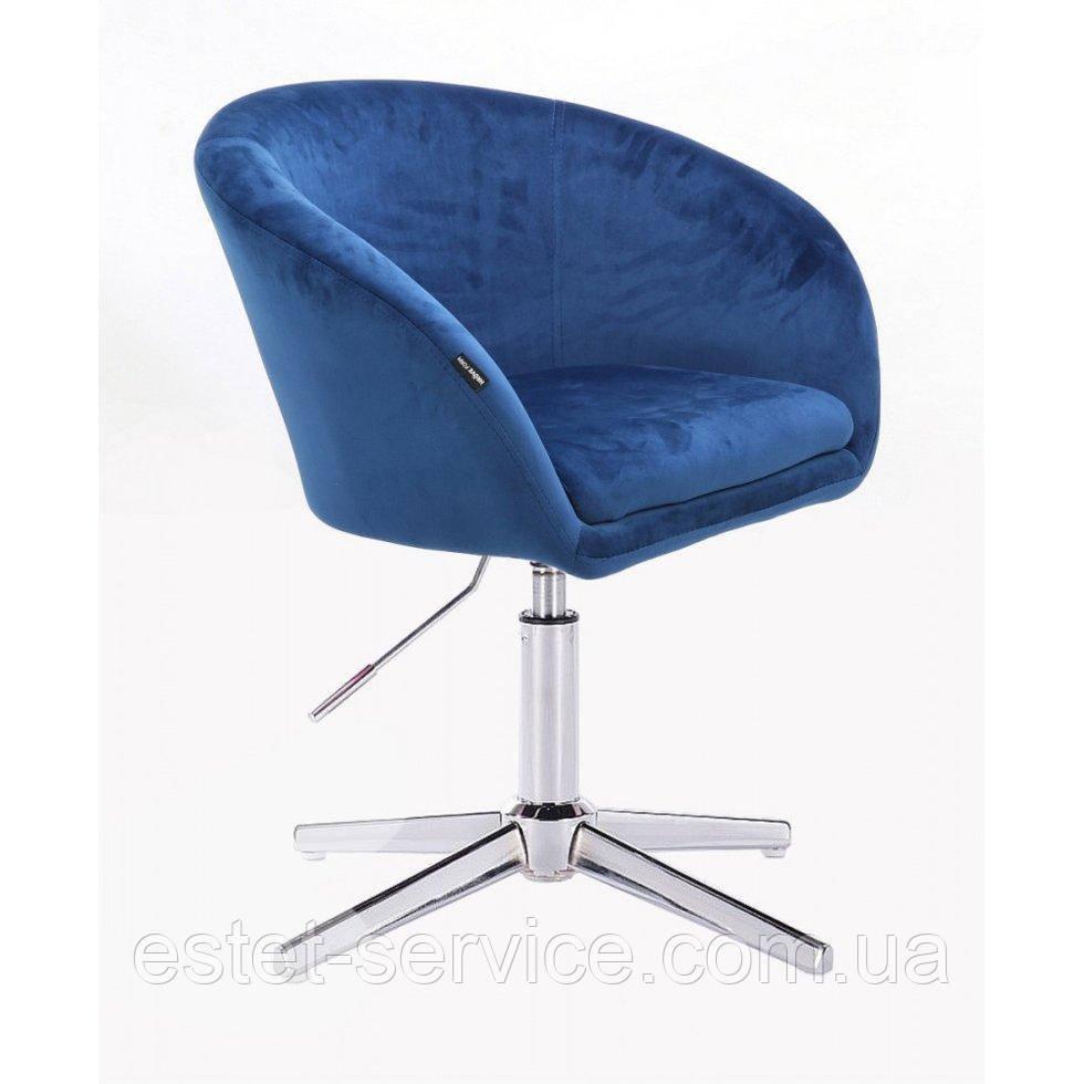 Парикмахерское  кресло HROVE FORM HR8326CROSS синий велюр