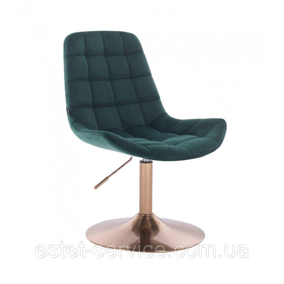 Парикмахерское кресло HR590N бутылочный велюр основа золото
