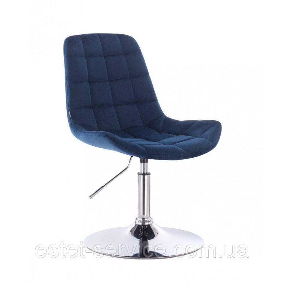 Парикмахерское кресло HR590N синий велюр