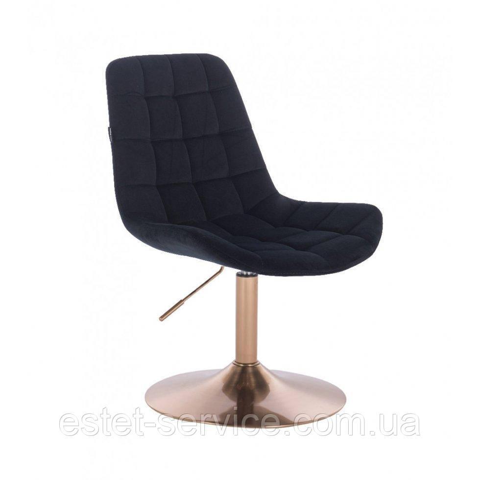 Парикмахерское кресло HR590N черный велюр основа золото
