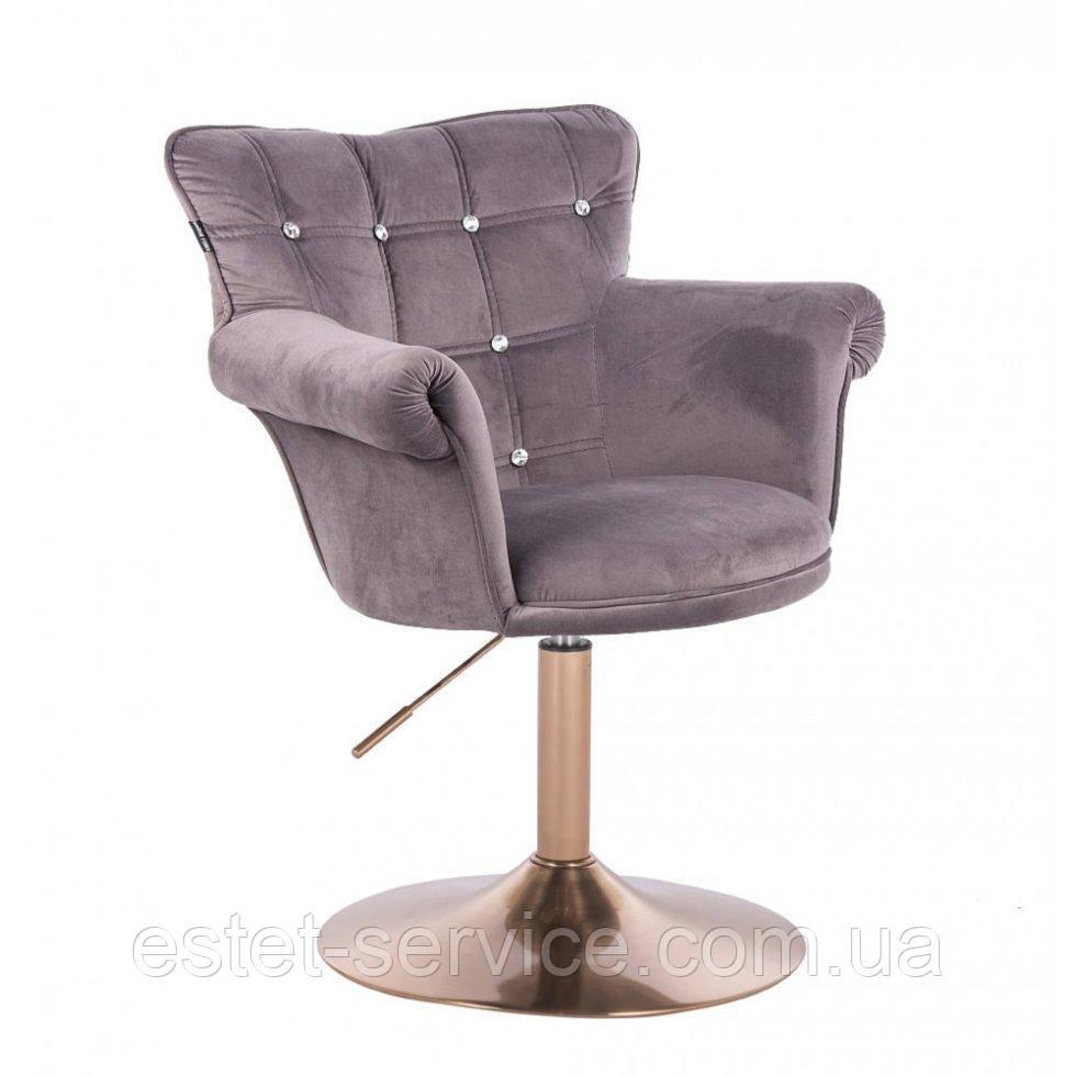 Парикмахерское кресло HR804C графитовый велюр золотая основа