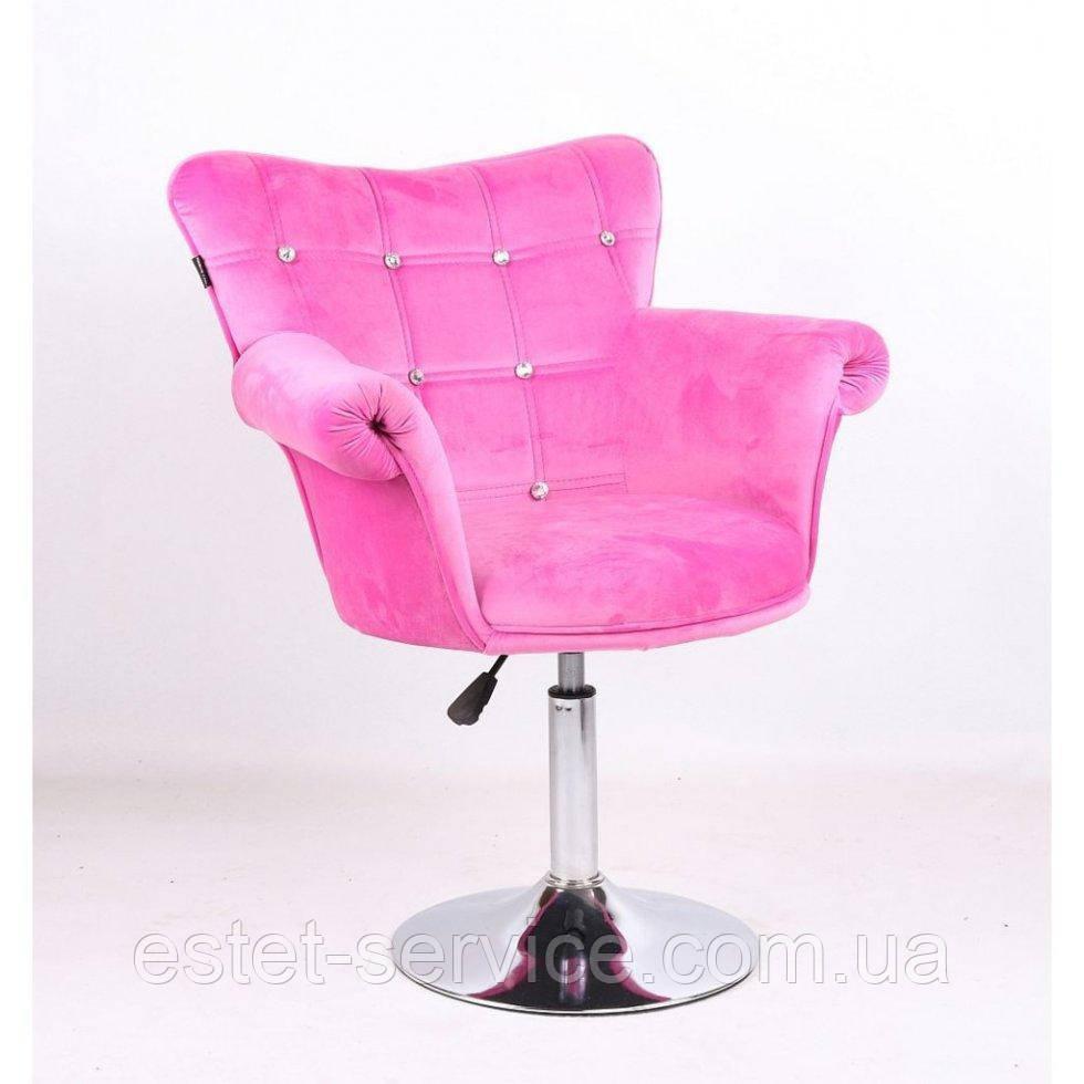 Парикмахерское кресло HR804C розовый велюр
