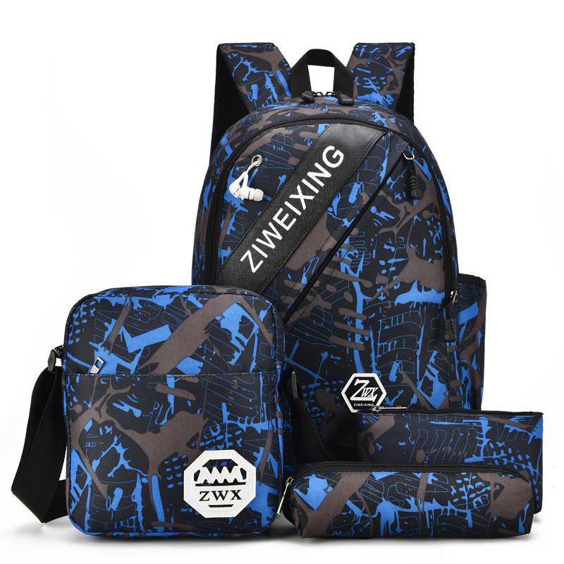 Городской Рюкзак Молодежный Набор 4 Предмета (V002) Синий