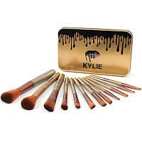 Набор кисточек для макияжа в стиле Kylie Professional Brush Set большие золото 12 штук 131537