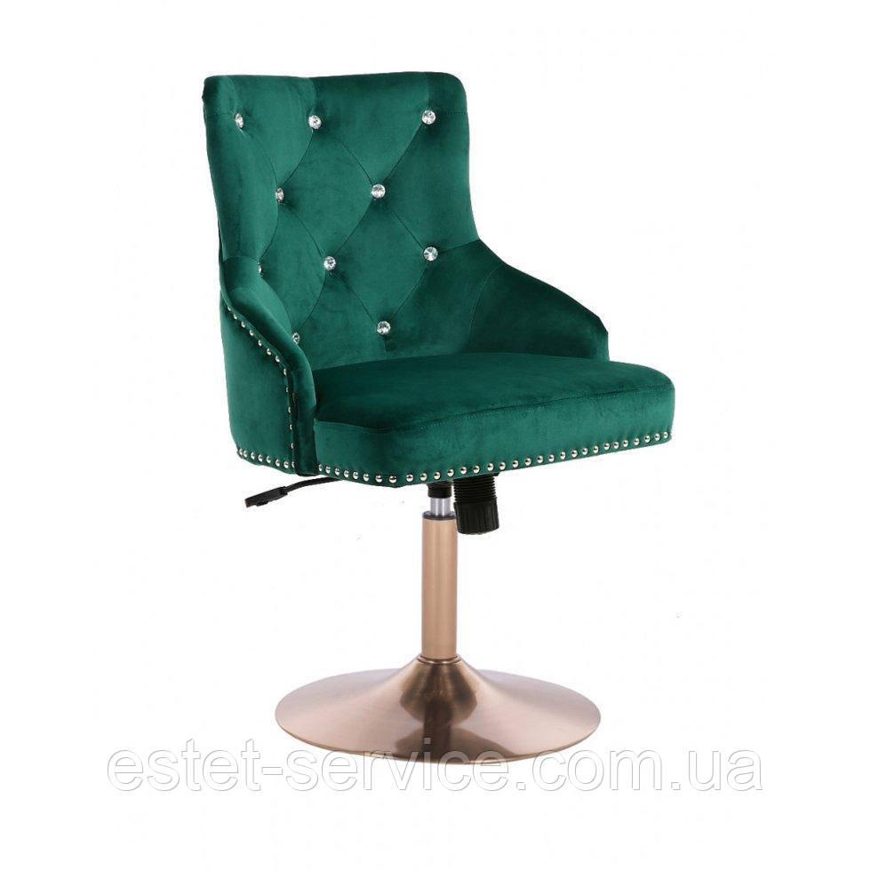 Парикмахерское кресло HROVE FORM HR654CN бутылочный велюр со стразами основа золото