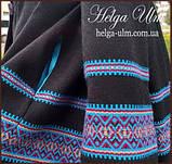"""Пальто для дівчинки в етностилі """"Верховина"""" (чорно блакитне),  98-152 рр. , фото 7"""