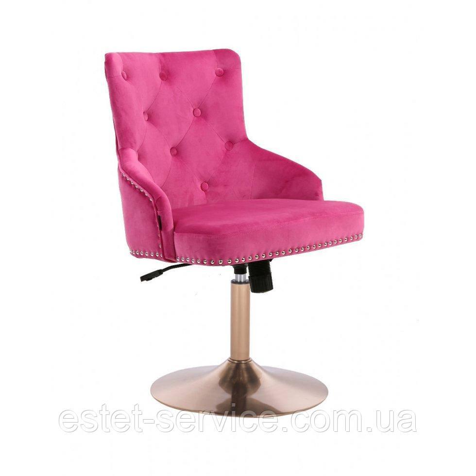 Парикмахерское кресло HROVE FORM HR654CN малиновый велюр с пуговицами основа золото