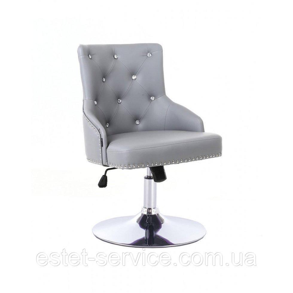 Парикмахерское кресло HROVE FORM HR654CN серый кожзам со стразами