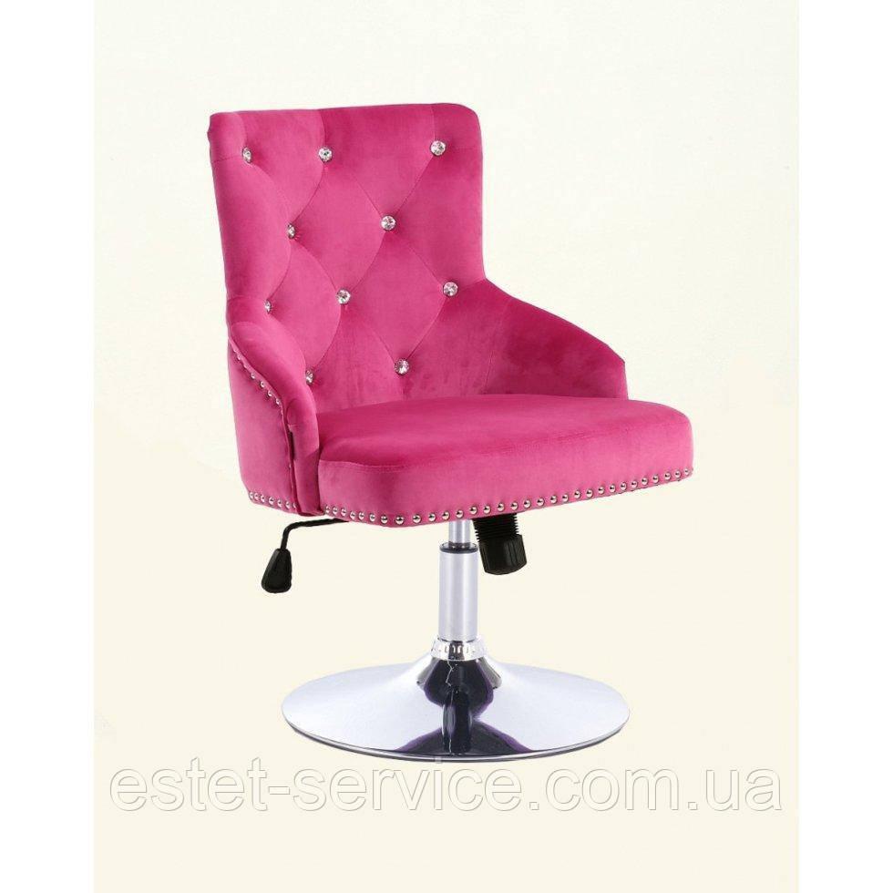 Парикмахерское кресло HROVE FORM HR654N малиновый велюр со стразами