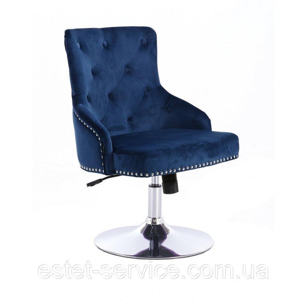 Парикмахерское кресло HROVE FORM HR654N синий велюр с пуговицами