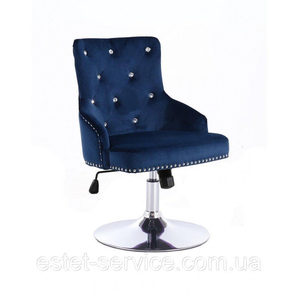 Парикмахерское кресло HROVE FORM HR654N синий велюр со стразами