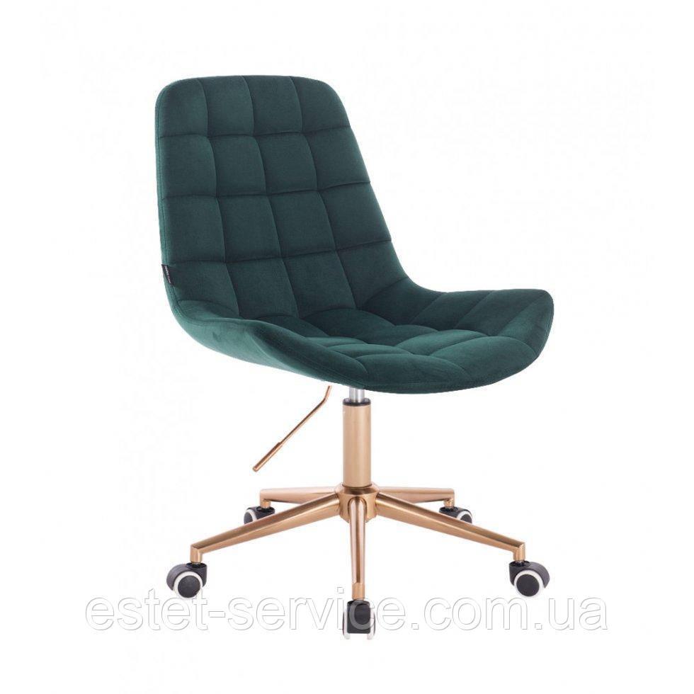 Косметическое кресло HR590K  бутылочный велюр колеса золото