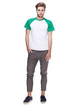 Футболка мужская реглан, бело зеленый, фото 3