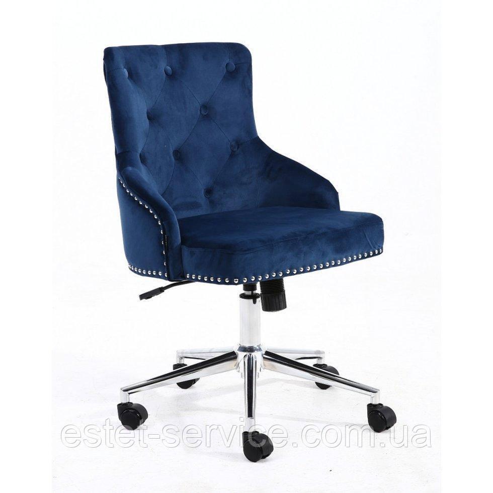 Косметическое кресло HROOVE FORM HR654K синий велюр с пуговицами