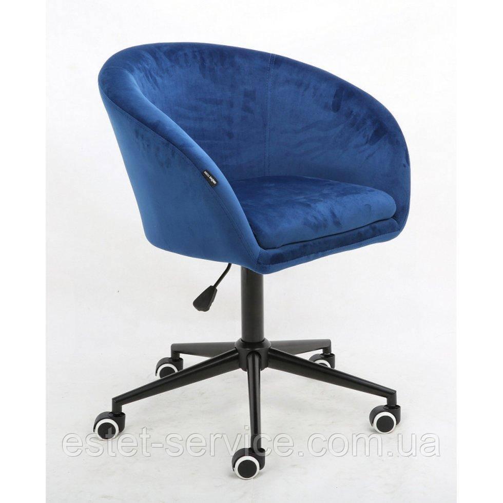Косметическое кресло HROOVE FORM HR8326K синий велюр черная крестовина